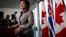 B.C. premier-elect Christy Clark pauses during a news conference at her office in Vancouver on May 15, 2013, after winning a majority in the provincial election Tuesday. (Darryl Dyck/The Canadian Press)
