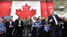Conservative Leader Stephen Harper speaks during a campaign stop in Richmond Hill, Ont., on Monday, October 5, 2015 (Nathan Denette/The Canadian Press)