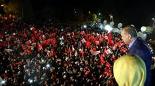 Turkish President Tayyip Erdogan addresses his supporters in Istanbul. (Reuters)
