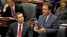 Ontario Premier Dalton McGuinty and other MPP's listen as Finance Minister Dwight Duncan delivered the fall Ontario Economic Outlook and Fiscal Review at Queen's Park on Wednesday November 23, 2011 in Toronto, Ontario. (Deborah Baic/Deborah Baic/The Globe and Mail)