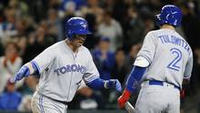 Toronto Blue Jays first baseman Justin Smoak celebrates his home run in the ninth inning against the Seattle Mariners at Safeco Field in Seattle, on June 10, 2017. (Lindsey Wasson/Getty Images)