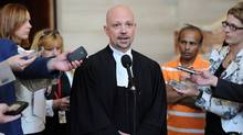 Lawyer David Di Paolo, who represents Chief Electoral Officer Marc Mayrand, speaks to reporters at the Supreme Court of Canada in Ottawa on Tuesday, July 10, 2012 regarding the appeal before the SCOC on the 2011 election in Etobicoke. (Sean Kilpatrick/The Canadian Press)
