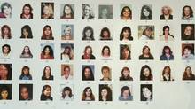 Detail of poster board of 48 missing women - an exhibit at the trial of Robert Pickton in New Westminster January 30, 2007 on the seven day of the trial for accused serial killer Robert Pickton. (John Lehmann/The Globe and Mail/John Lehmann/The Globe and Mail)
