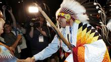 National Chief of the Assembly of First Nations Perry Bellegarde greets supporters in Winnipeg Wednesday. He says he wants to sit down with Prime Minister Stephen Harper right away. (LYLE STAFFORD For The Globe and Mail)