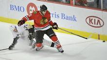 Former Chicago Blackhawks defenceman Steve Montador, who died last year after suffering from a degenerative brain disease, is among a group of plaintiffs in a lawsuit brought against the NHL over concussion repercussions that has grown to well over 100 former players, who believe the league ignored a duty to warn them of the risks of head injuries. (Brian Kersey/AP)