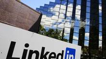 LinkedIn Corp., the professional networking Web site, displays its logo outside of headquarters in Mountain View, Calif., in 2011. (Paul Sakuma/AP)