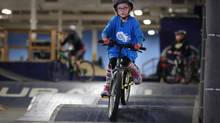 Seven-year old Nella Brand rides some humps.