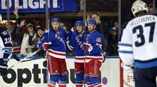 New York Rangers centre J.T. Miller (10) celebrates after scoring a goal against the Winnipeg Jets during the second period at Madison Square Garden in New York on Nov. 6, 2016. (Danny Wild/USA Today Sports)