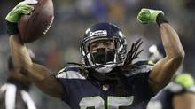 The Seattle Seahawks' and cornerback Richard Sherman face the Tampa Bay Buccaneers in Week 9 NFL action. (ROBERT SORBO/REUTERS)