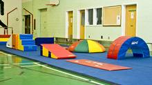 Tumble floor and obstacle course set-up. (COURTESY OF GO-GO GYMNASTICS)