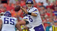 Minnesota Vikings quarterback Matt Cassel throws a pass in the first half of the game against the Kansas City Chiefs at Arrowhead Stadium. (Denny Medley/USA Today Sports)