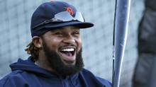Detroit Tigers first baseman Prince Fielder is all smiles during practice for the MLB World Series in San Francisco, October 23, 2012. (LUCY NICHOLSON/REUTERS)