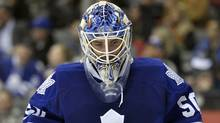 Toronto Maple Leafs goalie Jonas Gustavsson skates back to his net after allowing a goal to the Carolina Hurricanes in Toronto, March 27, 2012. (Mike Cassese/Reuters/Mike Cassese/Reuters)