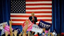 Republican presidential nominee Donald Trump addresses supporters during a campaign rally at the Bank of Colorado Arena on the campus of University of Northern Colorado in Greeley, Colorado on October 30, 2016. (JASON CONNOLLY/AFP/Getty Images)