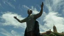 A nine-metre bronze statue of former South African President Nelson Mandela is unveiled in Pretoria.Rough Cut (no reporter narration). (Reuters)