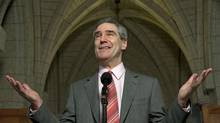 Liberal Leader Michael Ignatieff speaks with reporters in Ottawa on March 31, 2010. (Adrian Wyld/The Canadian Press)
