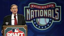 Major League Baseball commissioner Bud Selig announces that the Washington Nationals have selected San Diego State University pitcher Stephen Strasburg as the No. 1 overall pick in the baseball draft at MLB Network Studios in Secaucus, N.J., Tuesday, June 9, 2009. (Rich Schultz)