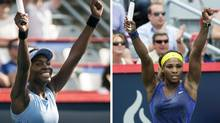 Venus Williams, left, and her sister Serena each celebrate their victory in the quarter-finals at the Rogers Cup Friday. (Paul Chiasson/THE CANADIAN PRESS)