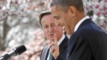 British Prime Minister David Cameron speaks during a joint press conference with U.S. President Barack Obama in the Rose Garden of the White House in Washington, March 14, 2012. (JASON REED/REUTERS)