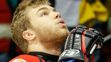 Taylor Hall #4 of the Windsor Spitfires listens to the singing of the national anthem prior to the game against the Brandon Wheat Kings during the Final of the 2010 Mastercard Memorial Cup Tournament at the Keystone Centre on May 23, 2010 in Brandon, Manitoba, Canada. (Photo by Richard Wolowicz/Getty Images) (Richard Wolowicz/2010 Getty Images)