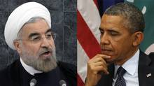 Iranian President Hasan Rouhani, left, is pictured giving a speech to the United Nations General Assembly on Sept. 24, 2013. U.S. President Barack Obama is pictured at a meeting with Lebanon's President (not pictured) at the UN, also on Sept. 24. (Brendan McDermid (L) and Kevin Lamarque (R)/Reuters)