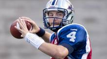 Montreal Alouettes' quarterback Tanner Marsh throws a pass during second half CFL football action against the Toronto Argonauts in Montreal, Sunday, September 8, 2013. The Alouettes face the Lions Sunday at B.C. Place in Vancouver. (GRAHAM HUGHES/THE CANADIAN PRESS)