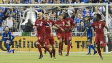 Toronto FC's Michael Bradley celebrates after scoring against the Montreal Impact during the second half at the Olympic Stadium in Montreal, Tuesday, November 22, 2016. (Graham Hughes/THE CANADIAN PRESS)
