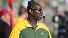 Edmonton Eskimos head coach Kavis Reed during second quarter CFL football action against the Saskatchewan Roughriders in Regina, Sask., Sunday, July 08, 2012. (The Canadian Press)