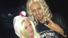 Deryck Whibley and his girlfriend dressed up as Avril and Chad for Halloween.