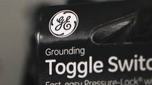 A General Electric Co. (GE) logo is seen on a toggle switch package in New York. (SHANNON STAPLETON/Reuters)