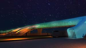 Artist's rendering of the new Pickering pedestrian bridge at night.