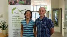 Operations manager Laura Barreca and founder of CleanStart Dylan Goggs. (CleanStart)