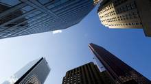 Canadian bank headquarters stand on Bay Street in Toronto. (Brent Lewin/Bloomberg)
