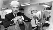 Toronto fashion designer Cy Mann in his Avenue Road shop with coat maker Rolando Rambaldini. (Fred Lum/The Globe and Mail)