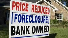 A residential foreclosure sign. (Kirby Hamilton/Kirby Hamilton/iStockphoto)