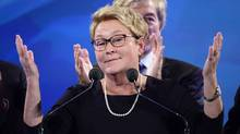 PQ leader Pauline Marois takes the stage after her party was defeated in the provincial election Monday April 7, 2014 in Montreal. (Paul Chiasson/THE CANADIAN PRESS)