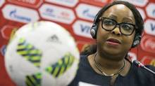 "This is a Tuesday, July 5, 2016 file photo of FIFA Secretary General Fatma Samoura as she speaks during a news conference in Moscow, Russia. Samoura insisted Monday Sept. 26, 2016 that the fight against racism is being taken ""very seriously"" despite the governing body's task force overseeing discrimination being abolished. (Pavel Golovkin/AP)"