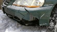 Peter Cheney had breakfast in bed because of this 'little mark' on his Accord. (Peter Cheney/The Globe and Mail)