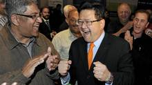 Gary Mar (R) reacts to leading in the first ballots in the leadership race for the PC Party of Alberta in Calgary, September 17, 2011. Mar was running for the position after it opened up earlier this year when Alberta premier Ed Stelmach resigned. (Todd Korol/Reuters/Todd Korol/Reuters)