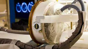 Sunnybrook researchers are developing a space-age looking helmet to deliver ultrasound to the head.