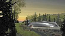The winning design, from HNTB + MVVA of New York, reads more like natural feature than man-made bridge.