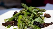 Morels are arriving at farmers' markets and, sautéed, match nicely with asparagus. (Deborah Baic/The Globe and Mail)