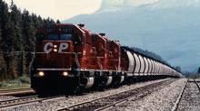 CP grain train near Lake Louise, Alberta. (CPR)