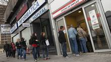An employment office in Madrid, April 3, 2012. Spain's number of registered jobless rose for the eighth-straight month in March as companies in all areas of the economy continued to lay off staff. (Juan Medina / Reuters/Juan Medina / Reuters)
