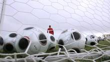 Generic photo of soccer balls inside a soccer net (Robert Taylor/The Canadian Press)
