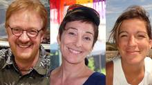 Yves Carrier, Gladys Chamberland, and Maude Carrier are shown in photos from Facebook. They, along with three other Canadians, were killed in a terrorist attack on Jan. 16 in Burkina Faso. (FACEBOOK)