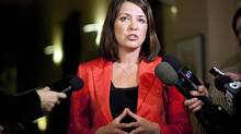 Then Wildrose Party Leader Danielle Smith is shown speaking to reporters in Calgary, Alta., Thursday, Jan. 24, 2013.