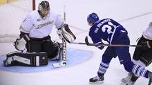 Toronto Maple Leafs forward James van Riemsdyk tries to score against Anaheim Ducks goalie Jonas Hiller during the third period at the Air canada Centre in Toronto on October 22, 2013. (Deborah Baic/The Globe and Mail)