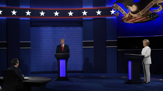Donald Trump and Hillary Clinton are seen at the final presidential debate.