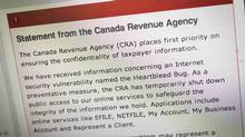 """The Canada Revenue Agency website is seen on a computer screen displaying information about an internet security vulnerability called the """"Heartbleed Bug"""" in Toronto, April 9, 2014. Right in the heart of tax-filing season, the Canada Revenue Agency (CRA) shut down access to online tax services on April 9, 2014 because of an Internet bug that has made data on many of the world's major websites vulnerable to theft by hackers. (Mark Blinch/Reuters)"""
